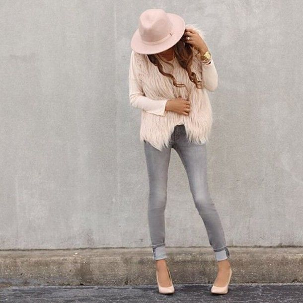 20818529ef6b coat fall outfits blush top blush blush pink grey jeans skinny jeans gray  skinny…