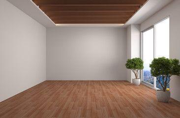 Interior With Large Window 3d Illustration Com Imagens