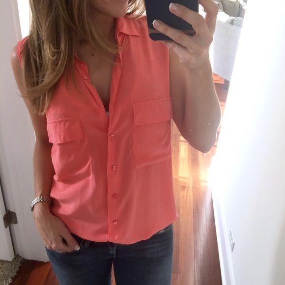 3454b23143f9b Equipment button down sleeveless top pink coral S Equipment sleeveless  button down silk top in a pretty pink coral. Size Small femme. Like new.