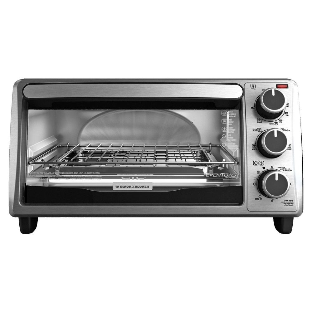 Black And Silver Kitchen Appliances: Brand New Black And Decker TO1303SB 4-Slice Toaster Oven