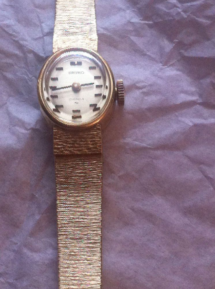 60668bc3a11c Ladies Gold Plated Seiko Watch Mechanical Working 17 Jewels Unique ...