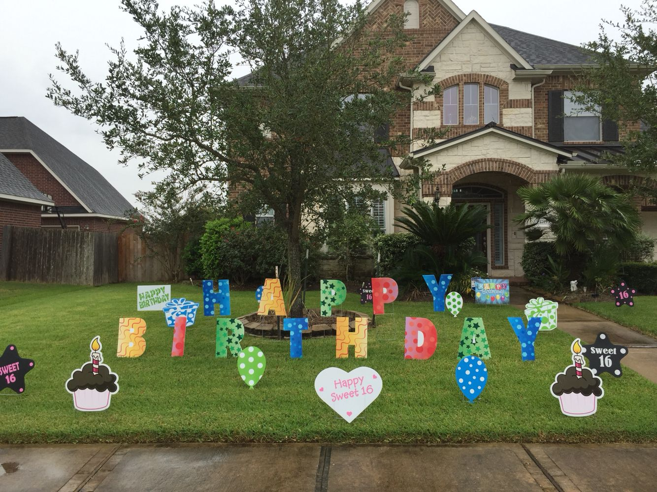 happy birthday lawn letters with other yard decor signs love the colors
