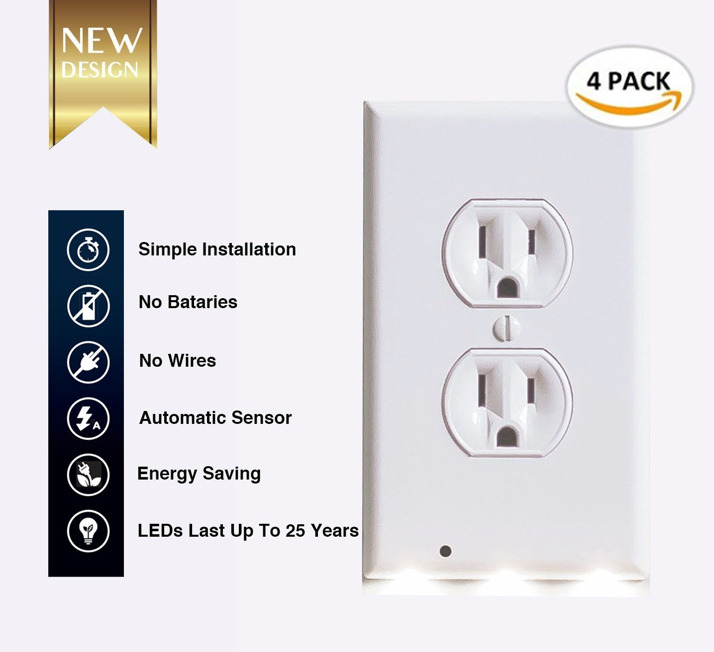 4 Pack Duplex Outlet Wall Plate With Led Night Light Guidelight Outlet Wall Cover Plate Receptacle With Energy Led Night Light Plates On Wall Led Lights