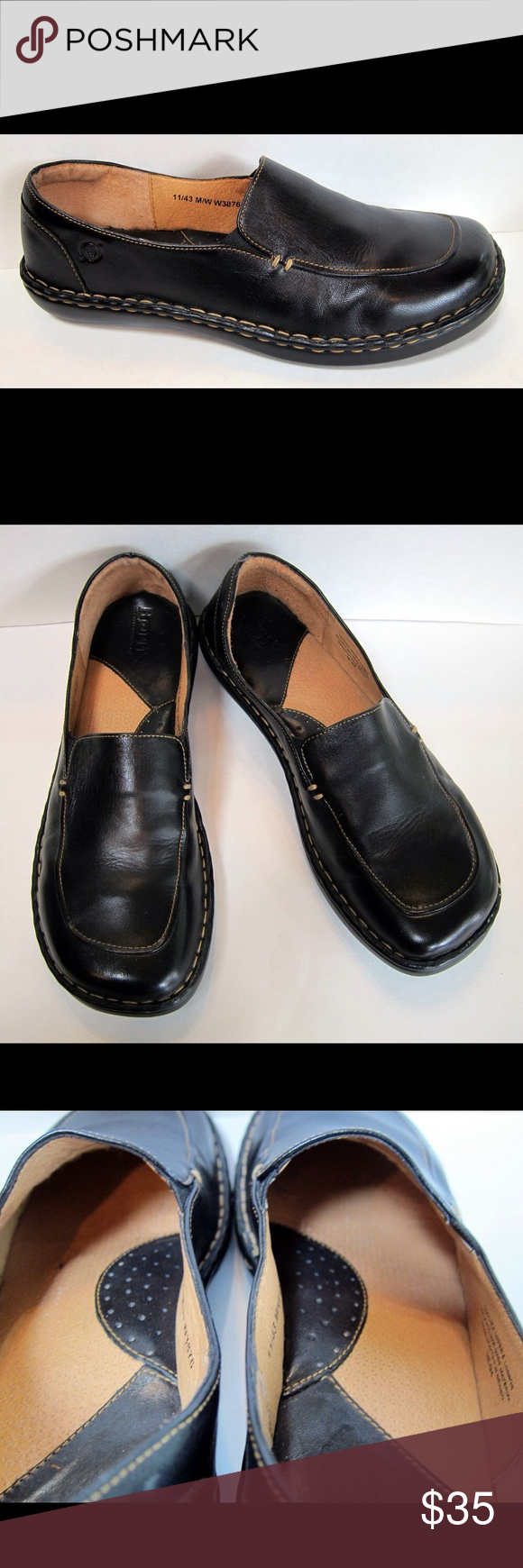 BORN Black Leather Loafer W3876