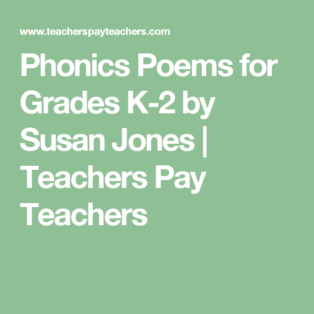 Phonics Poems for Grades K-2 | First Grade | Compound words
