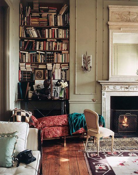 Famous Spanish fashion designer Manuel Blahnik Rodríguez's home library, as photographed by Ivan Terestchenko.