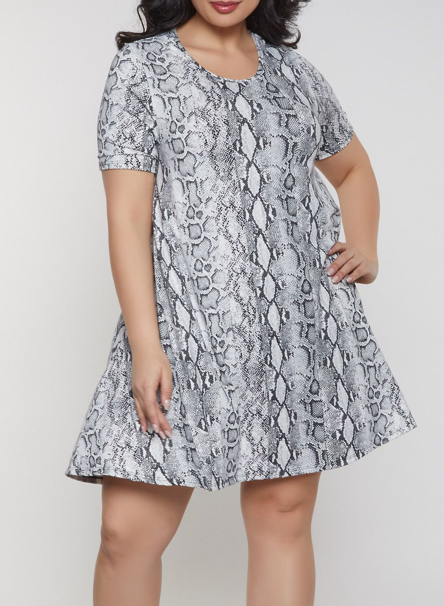 Plus Size Snake Print Dress in 2019   Products   Snake print dress ...