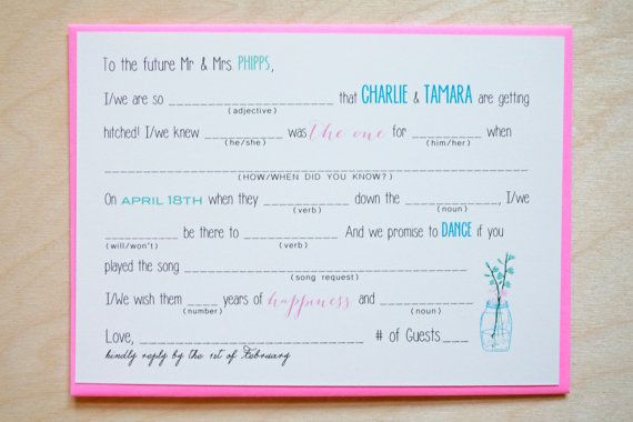 Custom Mad Lib Rsvp Card Wedding Invitation Fun Bridal Shower Activity Table Engagement Party Advice For The