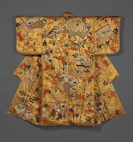 Noh costume (nuihaku) with books and nandina branches, Edo ...