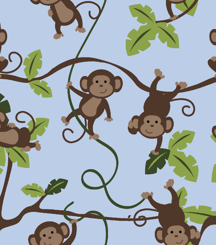 Nursery Fabric - Daisy Kingdom 3D 123 Jungle Monkey FlannelNursery Fabric - Daisy Kingdom 3D 123 Jungle Monkey Flannel,
