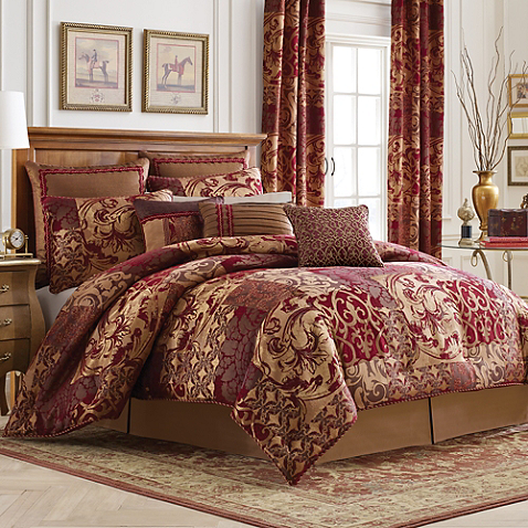 opulent design cream bedding. Update your bedroom with an opulent new look the Ryland Comforter Set  from Croscill This bedding is decorated a beautiful patchwork pattern that Reversible Decorating