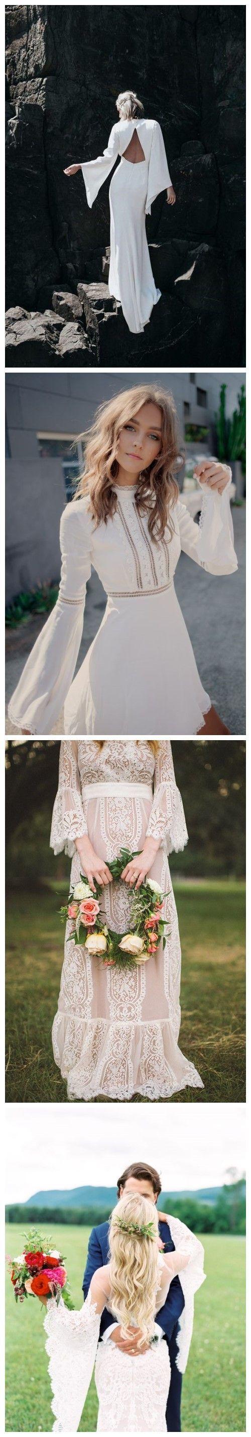 oh so amazing bell sleeve wedding dresses wedding pinterest
