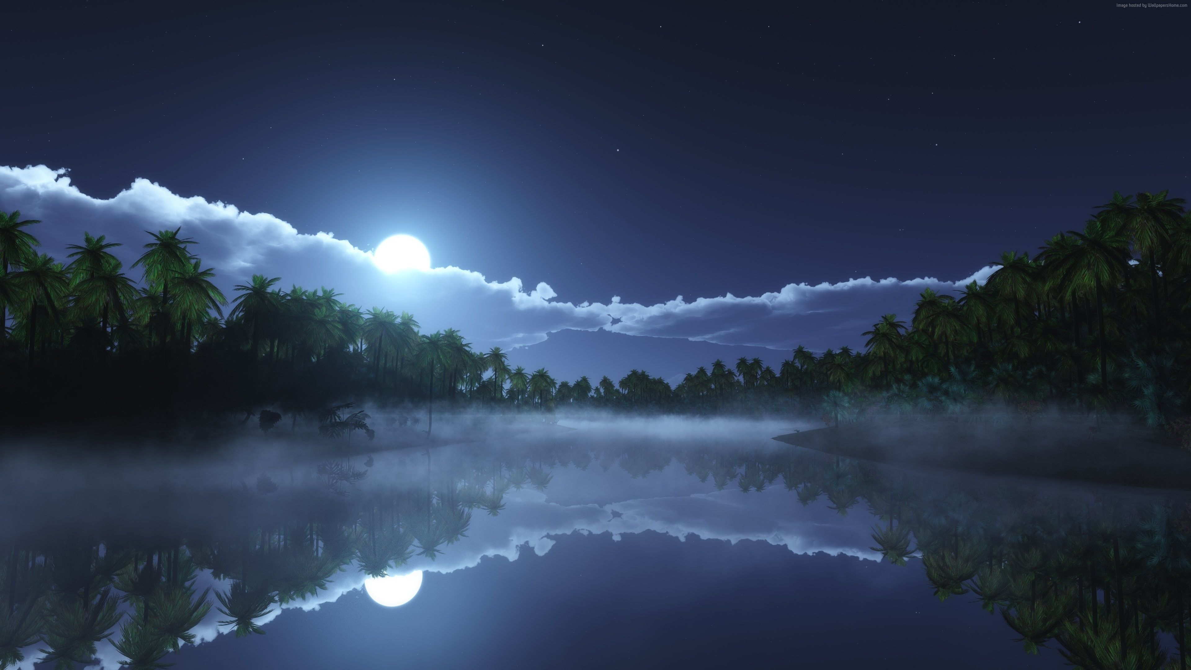 Awesome Moon Night View 4k Wallpaper Beautiful Nature Water