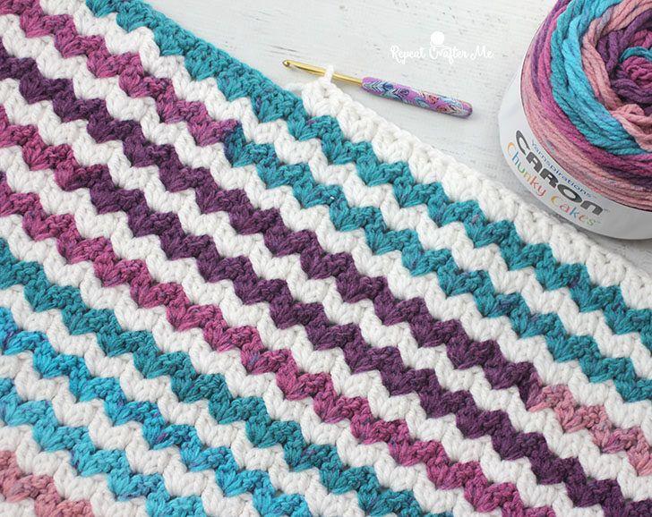 Caron Chunky Cakes Crochet Cluster V-Stitch Blanket | yarn ...