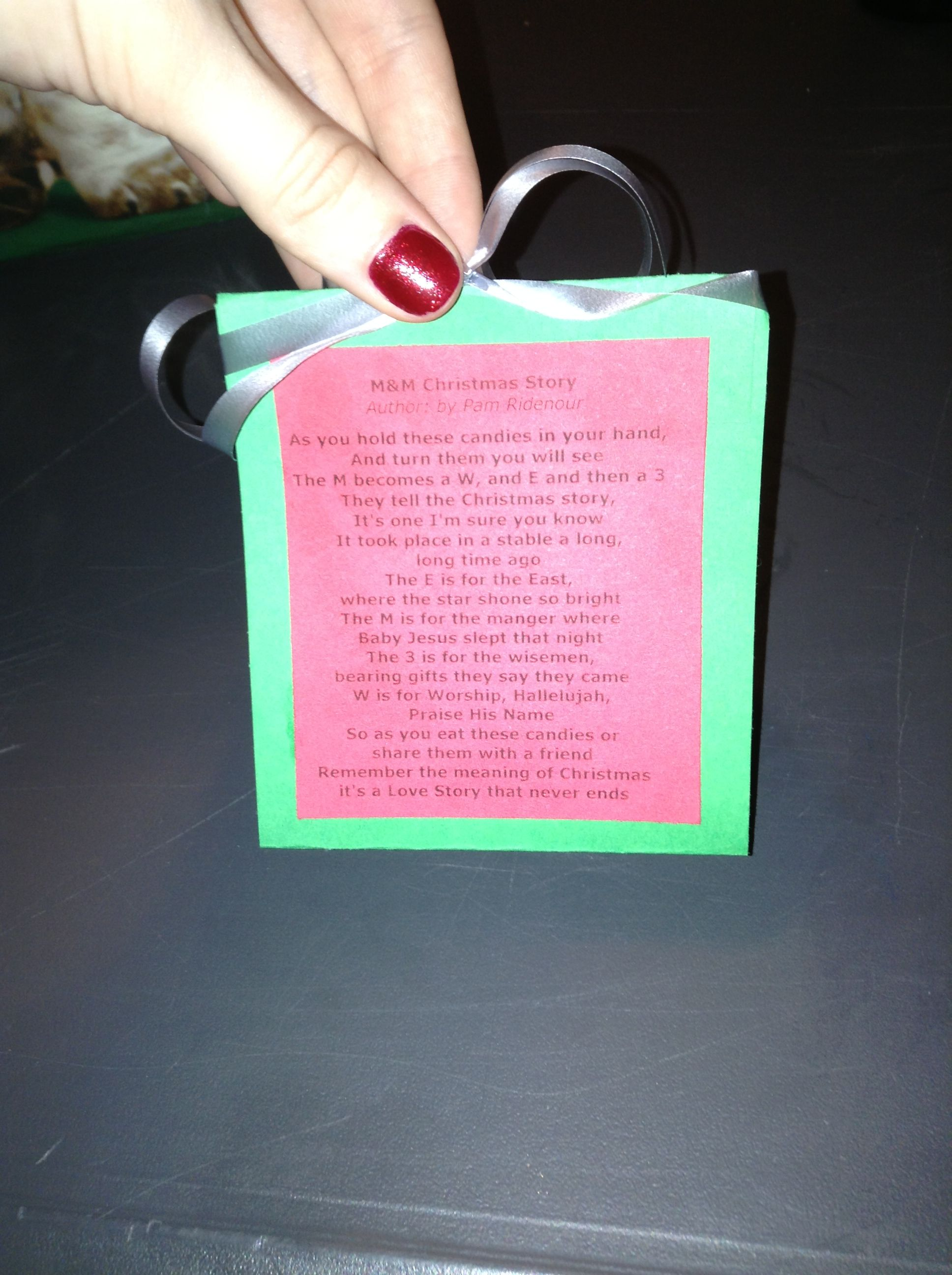 The M Christmas Story. Attach a small plastic bag of red and green m Perfect to hand out at church or at a Christmas party.