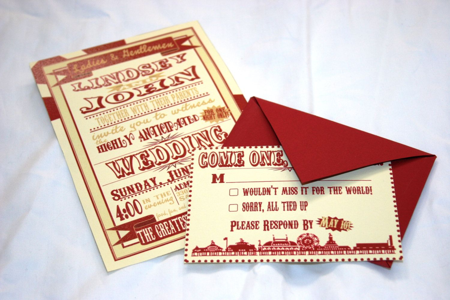 Vintage Carnival Wedding Invitation and RSVP Sample. $5.00, via Etsy ...