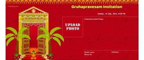 Free Online Griha Pravesh Housewarming Invitation Cards House