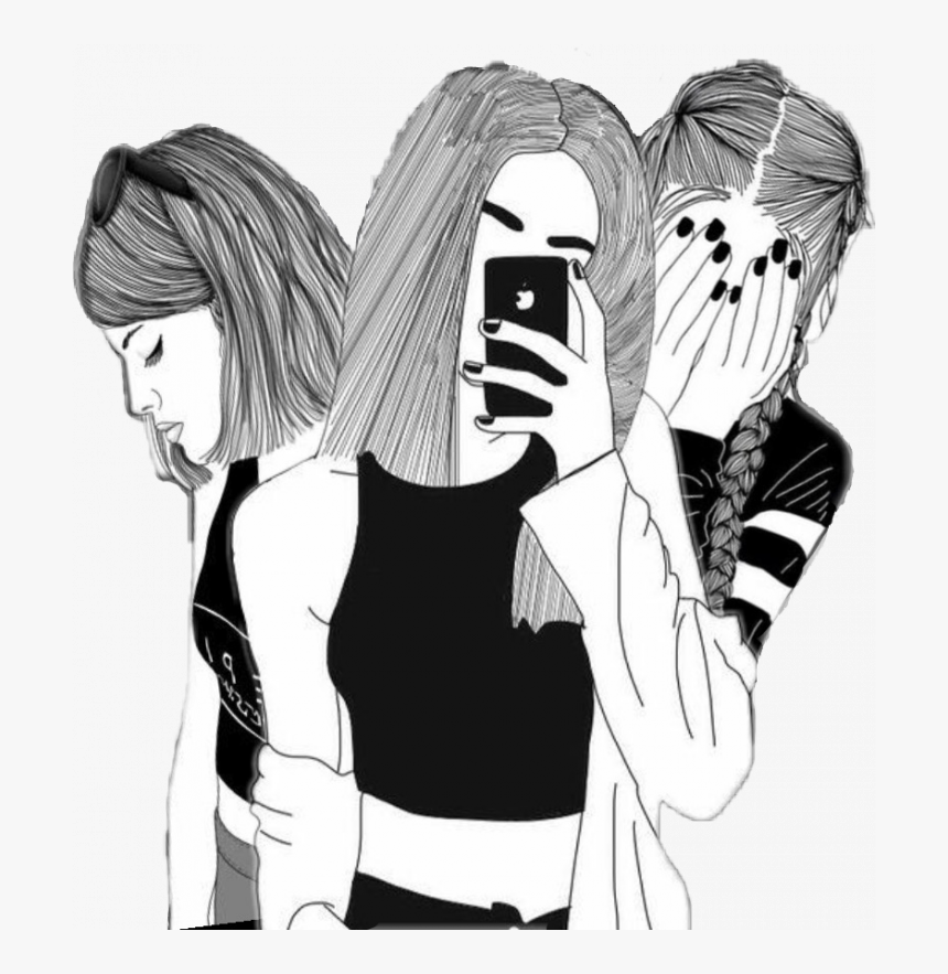 3 Girl Best Friends Drawing Hd Png Download Is Free Transparent Png Image To Explore More Similar Hd Image On Bff Drawings Drawings Of Friends Friends Sketch