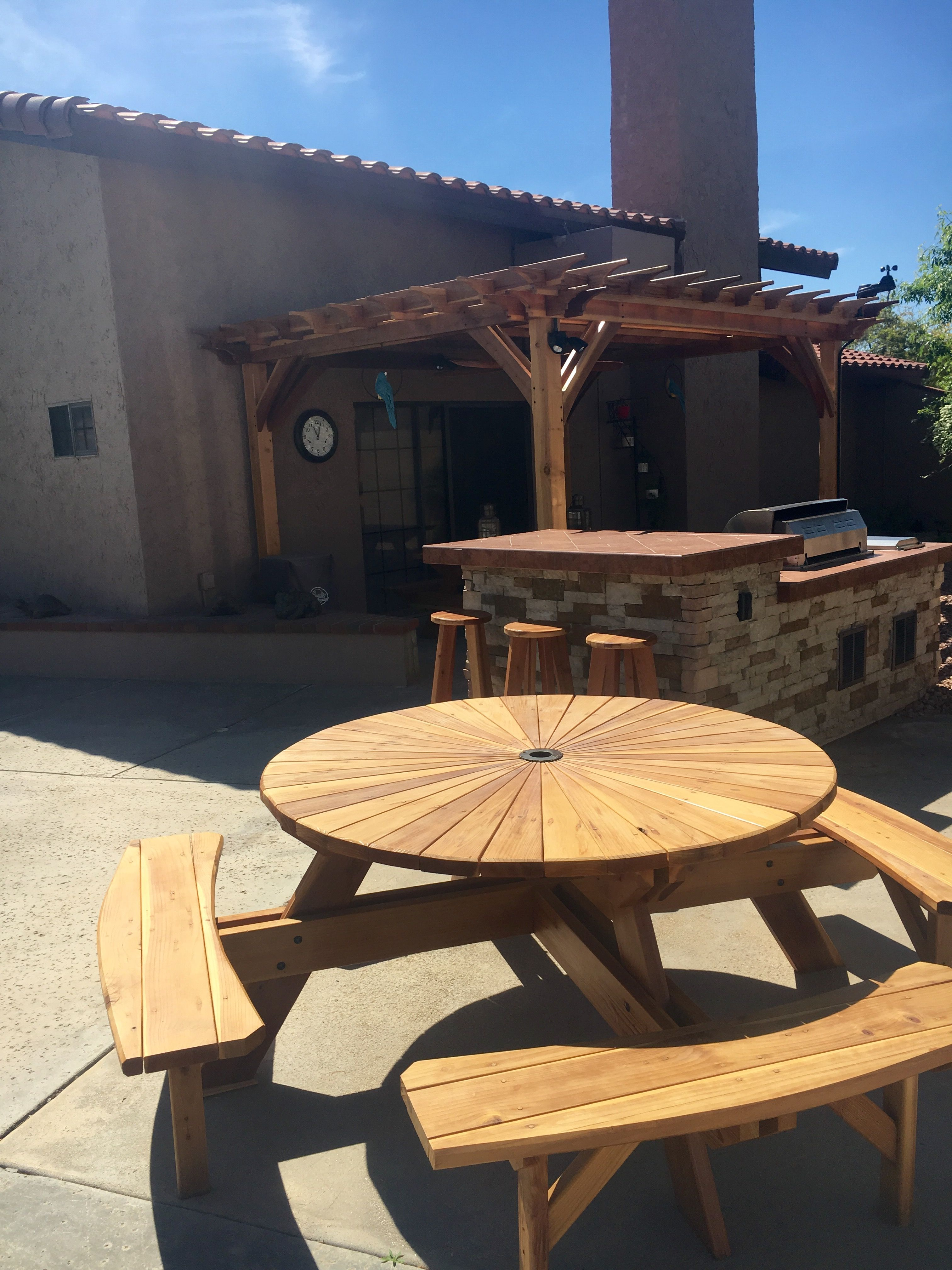 Redwood Patio Furniture Home Depot: Handcrafted Unique Round Picnic Table & Beautiful