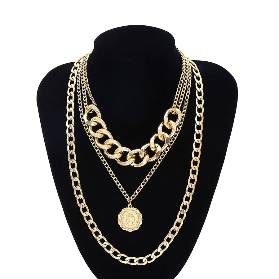 Photo of Cuban Link Chain Portrait Pendant Choker Necklace – Golden