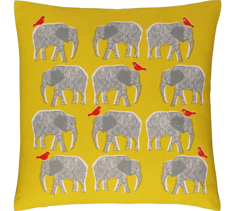 Buy Habitat Topsy Elephant Pattern Cushion Yellow
