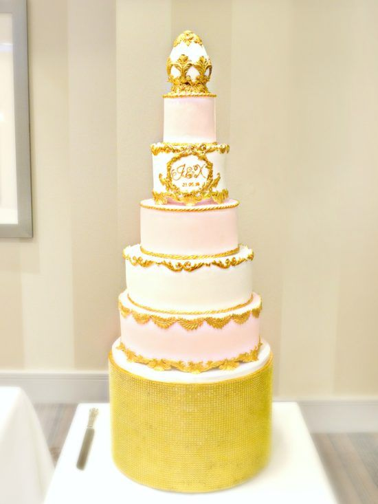 5 Tiers Pink, White and Gold Faberge Egg Baroque Monogram Wedding ...