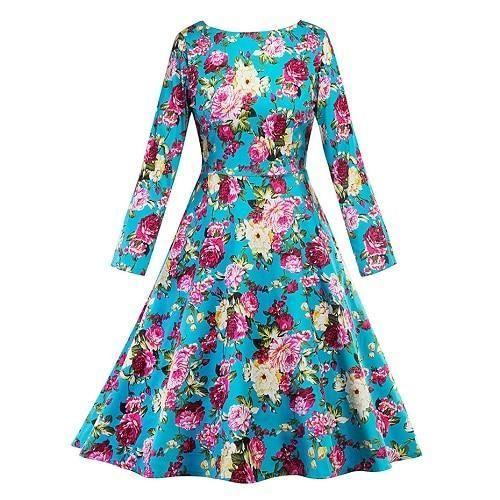 1574f9ff804de Women vintage dress a-line slim retro casual short dress elegant ...