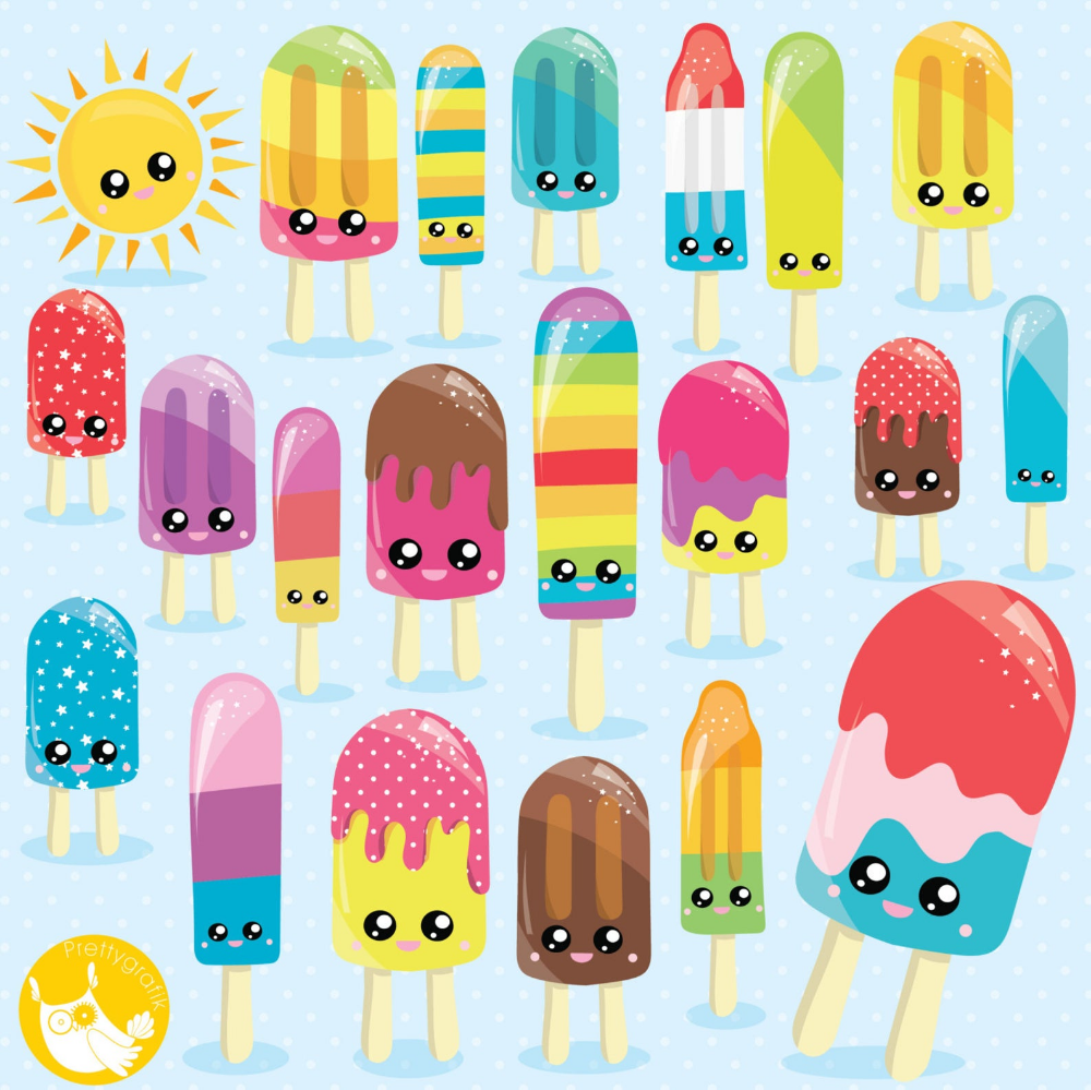 BUY 20 GET 10 OFF Popsicle clipart commercial use Kawaii