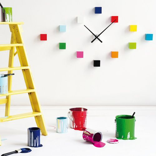 horloge murale do it yourself cubes multicolores karlsson