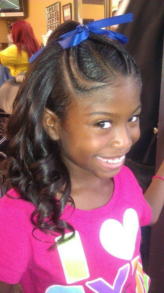Little Girl Flat Ironed Pressed Half Up Half Down Style Lil Girl Hairstyles Kids Hairstyles For Wedding Hair Styles