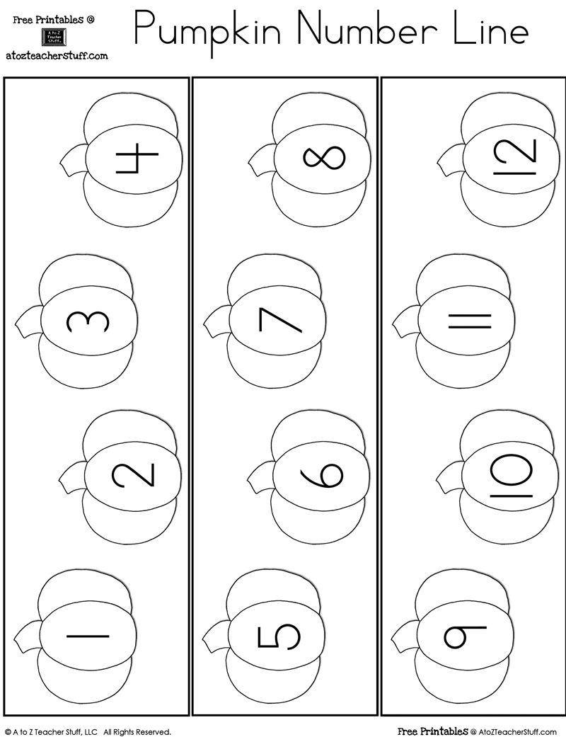 Fill in the Missing Number Pumpkin Number Line | A to Z Teacher ...