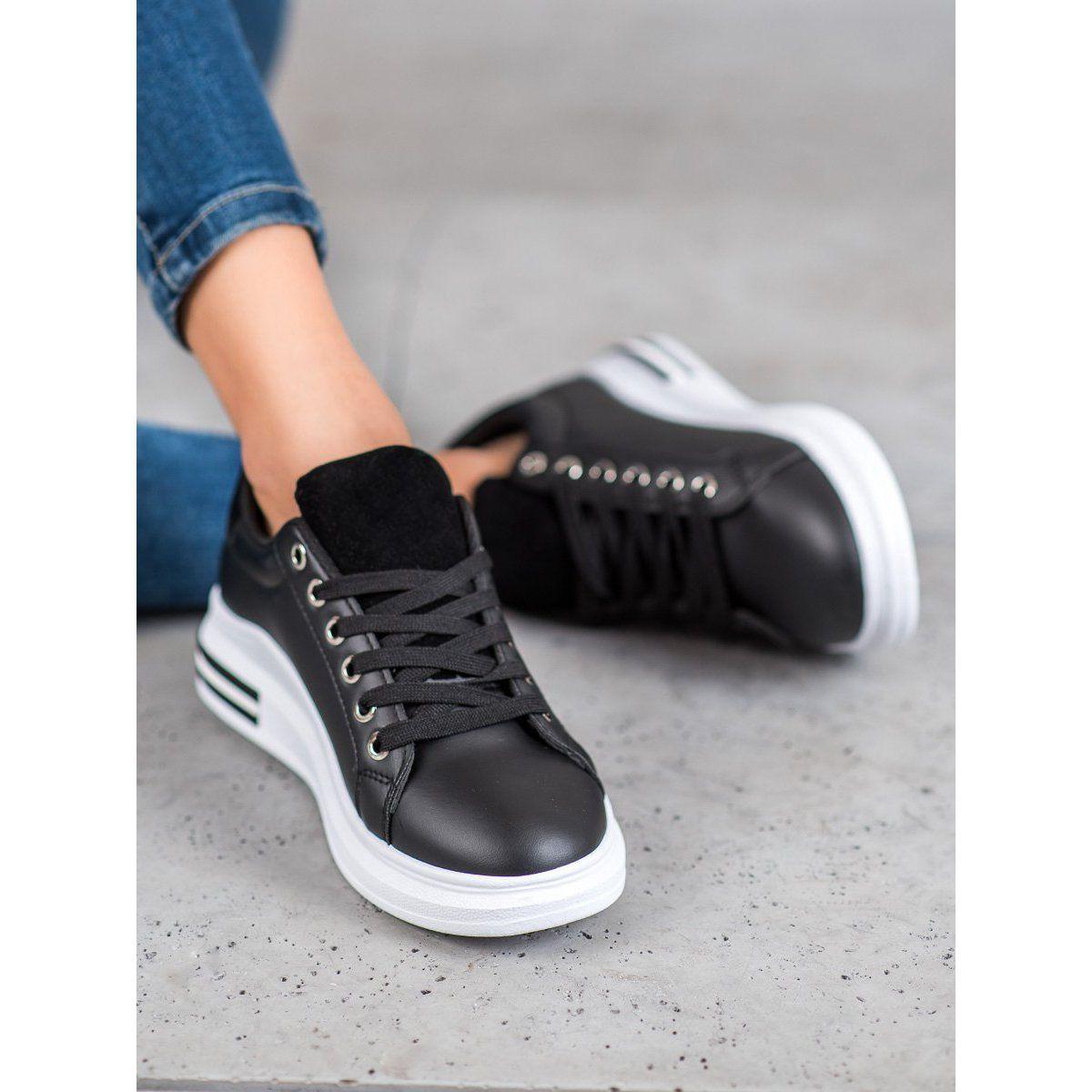 Shelovet Sportowe Buty Na Platformie Czarne Wedge Sneaker Shoes Sneakers