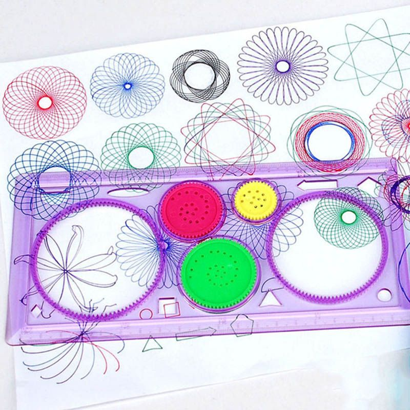 1x Plastic Geometric Color Ruler Stencil Spirograph Spiral Student Drawing Toys