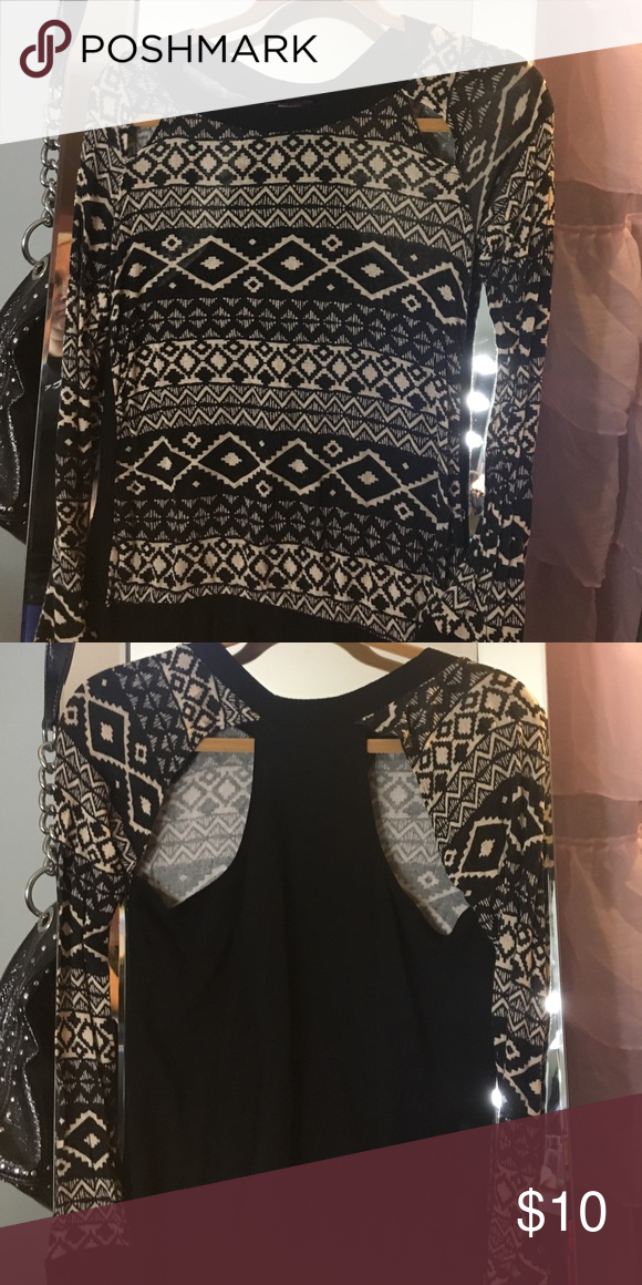 Long sleeve black & cream cut out top Long sleeve cut out thin sweater material Joyce Leslie Tops Blouses