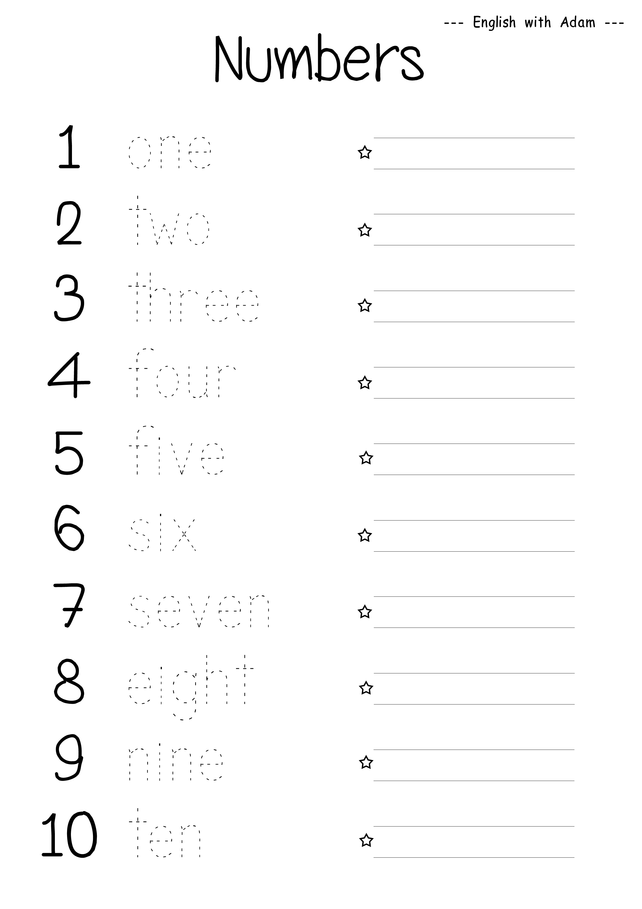 Numbers Educational Kids English Worksheets English