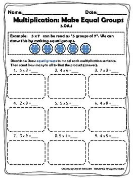 Multiplication Strategies: Make Equal Groups Worksheet. CCSS 3.OA.1 ...