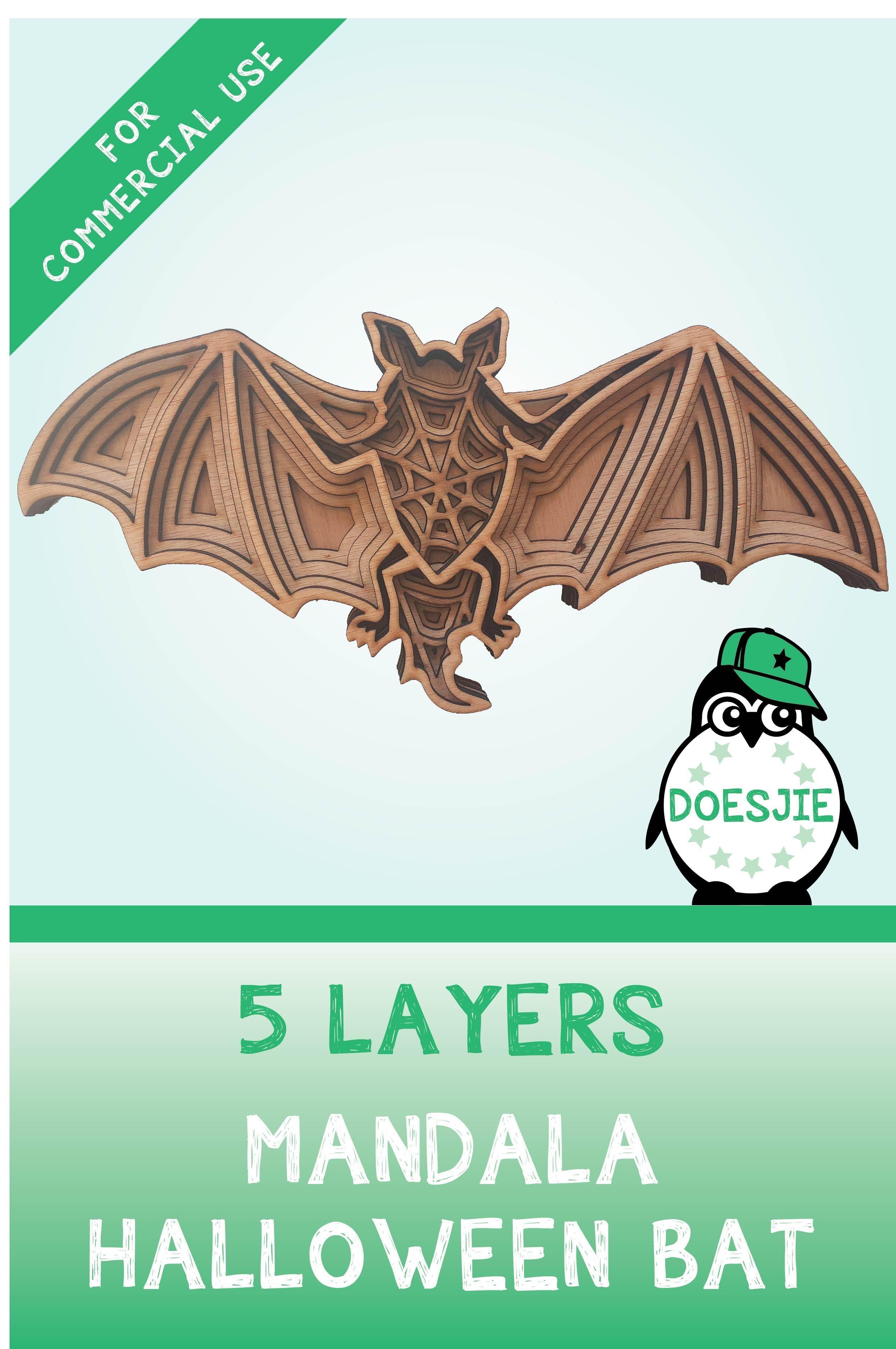 3d Bat Halloween multi layer mandala model laser cut file wall art home decor  CNC download dxf svg ai dwg cricut glowforge commercial use