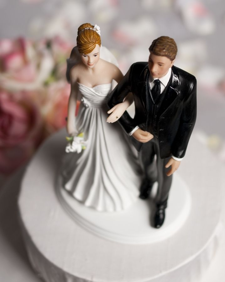 Happily Ever After Wedding Porcelain Figure  Bride and Groom Cake Topper