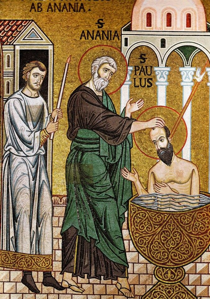 Baptism of Paul in Damascus - Palatine Chapel, Palermo | Orthodox christian  icons, Byzantine art, Bible pictures