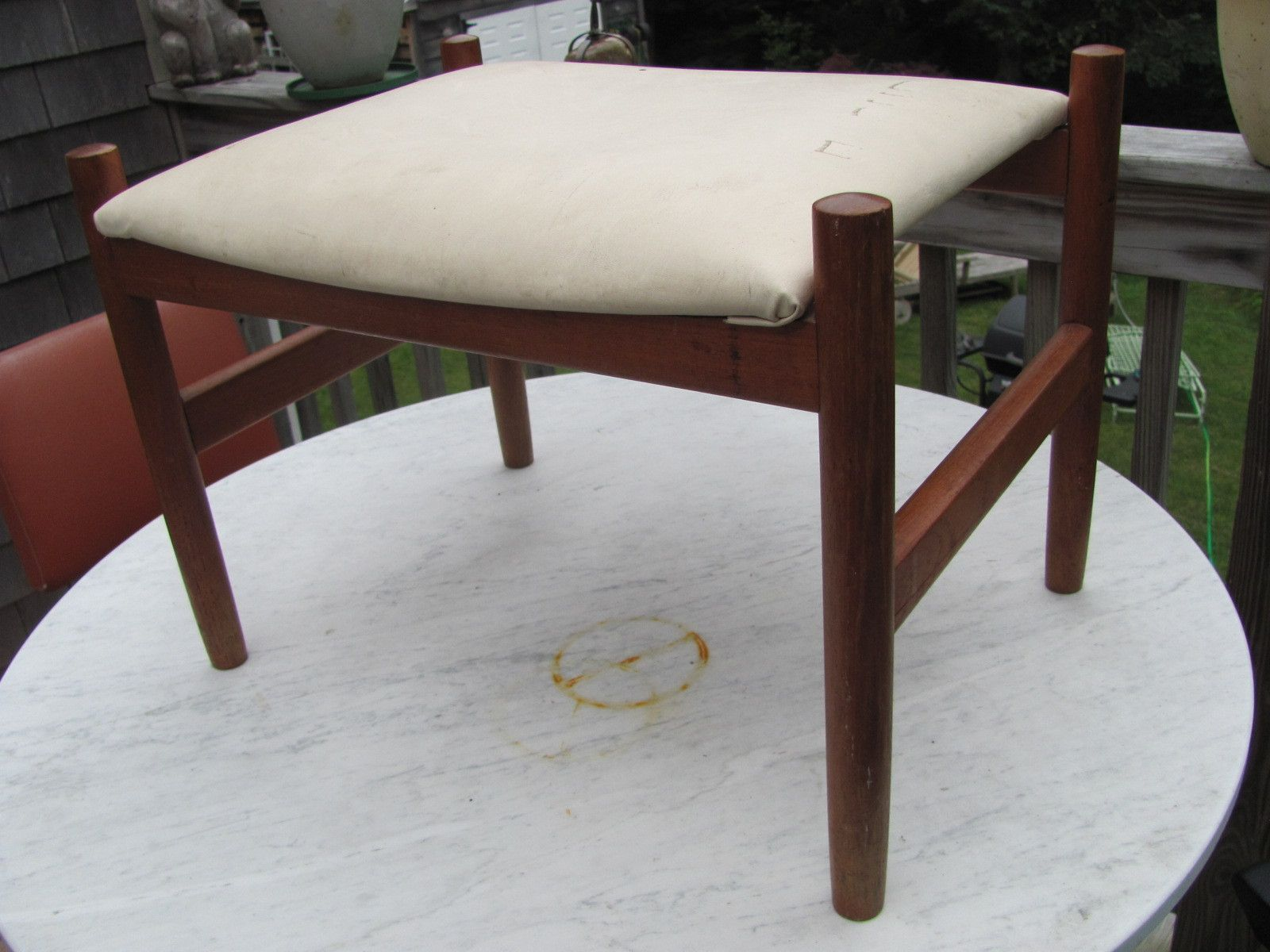 Vintage Teak Ottoman Footstool Mid Century Danish Modern Teak By
