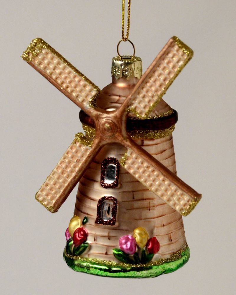 DUTCH WINDMILL NETHERLANDS HOLLAND GLASS CHRISTMAS ...
