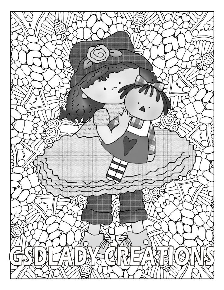 Country Girl, Greyscale Coloring, Friendship, Whimsical, Girl Dress ...