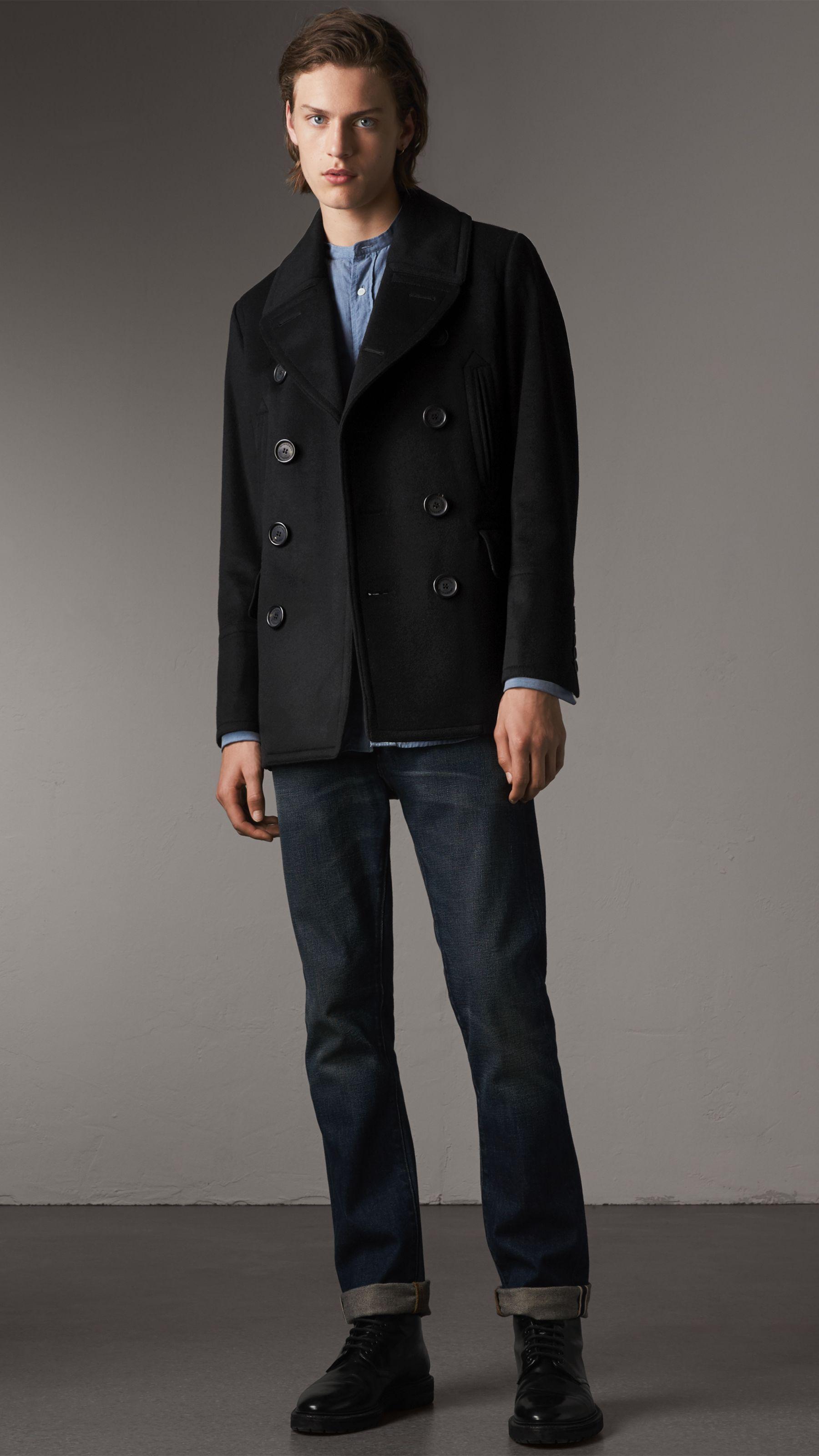 bd202376d51 Wool Cashmere Pea Coat in Black - Men