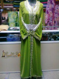 1 تكشيطة الموبرة بالأخضر الفاتح Moroccan Caftan Fashion Caftan