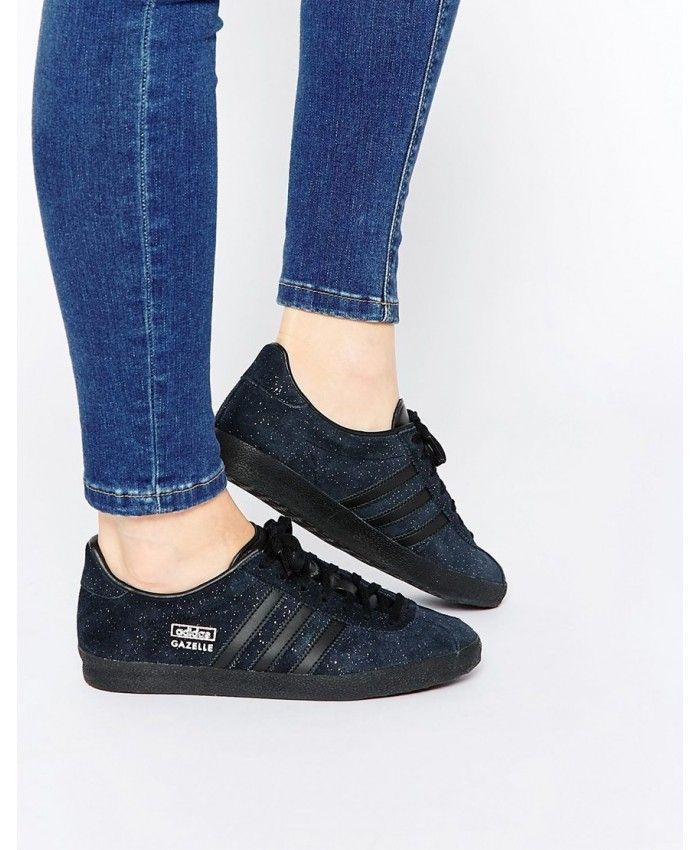 watch ca993 60b1f Adidas Gazelle Glitter Suede Black Womens Trainers