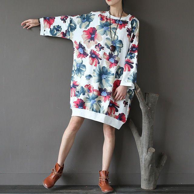 46111092e38f0 Good price Plus size Flower print Women Pullover Hoodies Winter ...