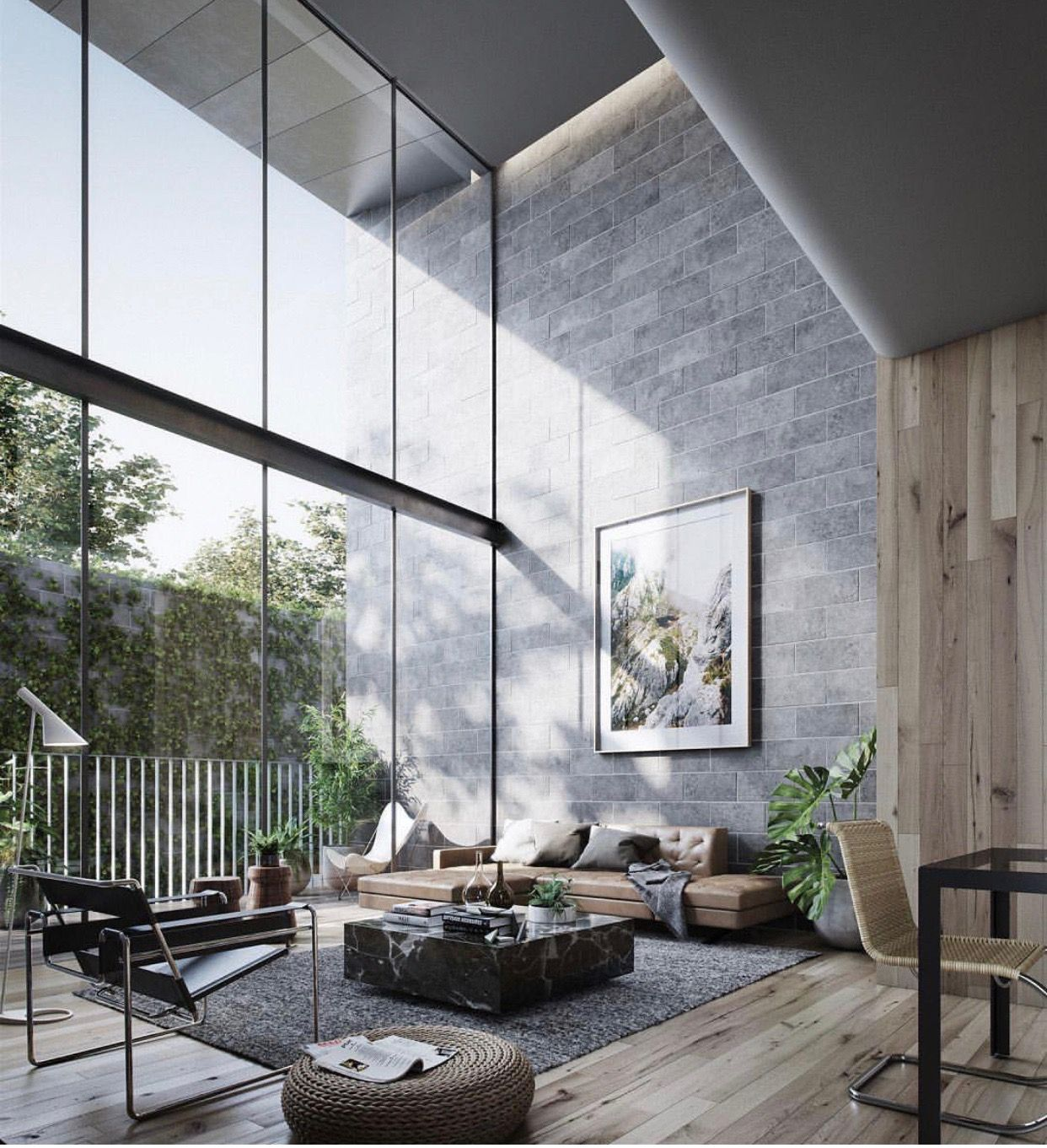 This is  very proportional designed living space because of the enormous windows also rh pinterest