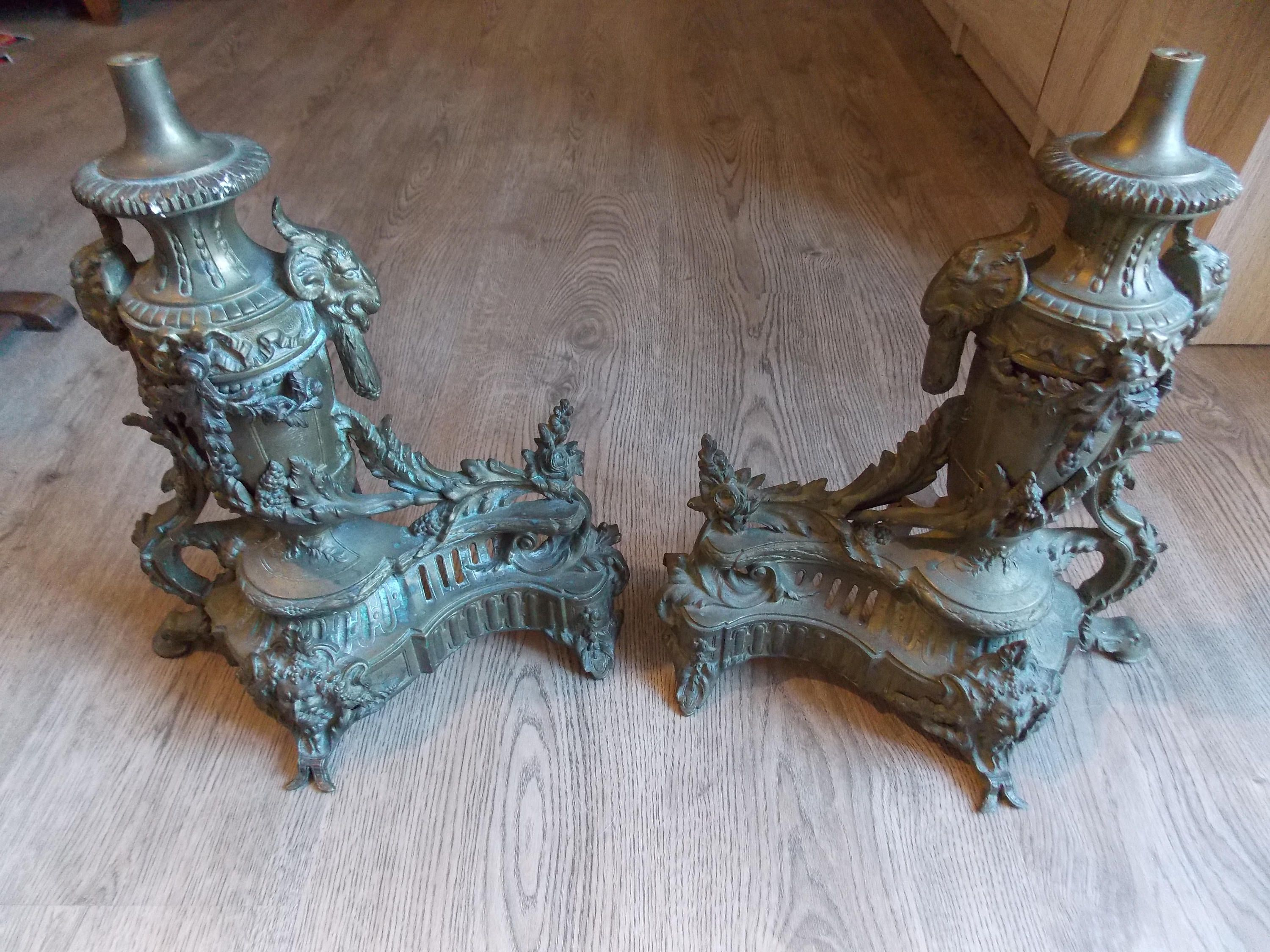 french antique bronze brass fireplace andirons french firedogs