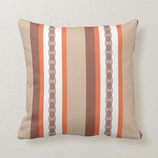 Mid Century Awning Stripe Taupe And Coral Lumbar Pillow Zazzle Com Lumbar Pillow Trellis Pattern Pillows