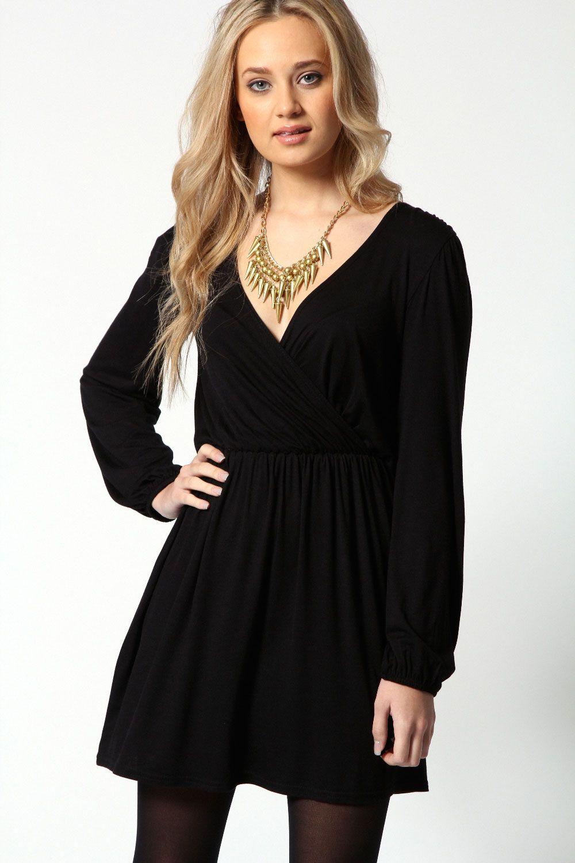 Jersey long sleeve wrap dress things to wear pinterest fashion